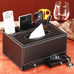 2019 scatola di corteccia Cassetto di immagazzinaggio di telecomando del desktop della scatola di pompaggio del tessuto della scatola di cuoio multifunzionale di modo domestico