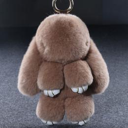9b0c55aae 14cm Bunny Keychain Natural Rex Rabbit Fur Fluffy Key Chains For Handbags  Ring Pom Trendy Women Bag Pendant Plush Car Ornament