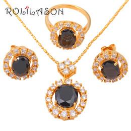 Wholesale 14k Gold Onyx Ring - Zirconia Women wedding Gold Tone Earring Necklace Fashion Jewelry Sets Ring Black Onyx Crystal Health Sz # 7 JS272