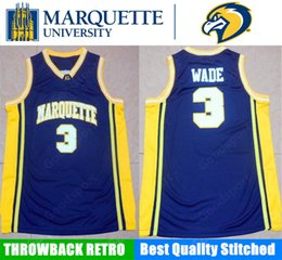Wholesale Dwyane Wade Shirt - HOT MARQUETTE Golden Eagles UNIVERSITY NCAA Stitched 3 Dwyane Wade embroidery jerseys Jersey SHIRTS cheap sport basketball retro