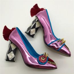 Wholesale Purple Rhinestone Heels - New Brand Women High Heels Square Toe Rivets Wedding Dress Shoes Woman Fringed Stiletto Valentine Shoes Women Crystal Pumps