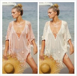 Wholesale Sexy Knitted Bikinis - 2 Colors Sexy Beach Cover Ups Free Size Loose Knitted Beach Cover- Ups Beach Swimsuit Bikini Cover Dresses CCA8786 10pcs