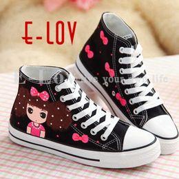 Симпатичные расписные туфли онлайн-E-LOV cute girl & bowknot Painting Designs Hand-Painted Canvas Shoes Personalized Adult Casual Shoes Cute Platform