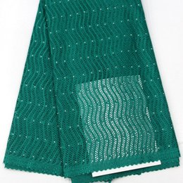 Wholesale Swiss Lace Yard - 5 yards teal green Fashionable original Swiss voile lace Hot sale African lace fabric cotton 100% For Men and Women Dress QA263