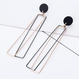 Aretes rectangulares online-Pendientes de bisutería de diseñador para mujeres largos pendientes plateados de plata del encanto de la manera caliente libre de envío