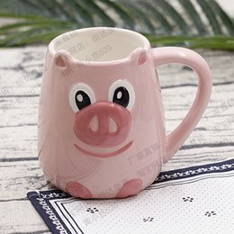 ceramic painting designs Promo Codes - 450ml Hot Sale Cute Pink Pig Ceramic Coffee Mug 3D Hand Painted Water Cup With Pig Designed Free Shipping