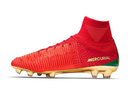 Wholesale Mens Burgundy Boots - High Top Mens Kids Soccer Shoes Mercurial CR7 Superfly V FG Boys Football Boots Magista Obra 2 Women Youth Soccer Cleats Cristiano Ronaldo