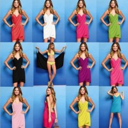 Wholesale Wholesale Silk Dresses - Magic Bath Towel 140*70CM Homewear Sleepwear Women's Summer Beach Strap Dress Ice silk Sling Bathrobes Dress GGA316 20PCS
