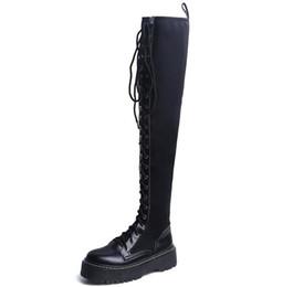 botas de piel de oveja hasta la rodilla Rebajas Nuevas mujeres atractivas de la moda sobre la rodilla botas de invierno largas de cuero genuino botas de muslo negro botas de mujer de piel de oveja de lujo