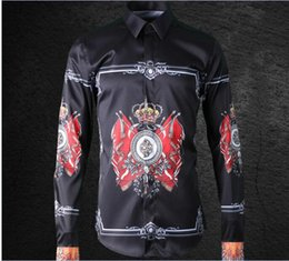 Wholesale flag business - Free Shipping 2018 New Arrival Fashionable Royal Flag Digital Positioning Printed Style Mens Casual Business Long-sleeved Shirt Hot Sale