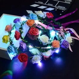 Wholesale Led Headbands Light Up - Flashing LED Glow Flower Headbands Light Up Party Floral Hair Garland Wreath Wedding Flower Crown Floral Garland Boho for Festival