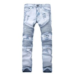 Wholesale Mens Pants Size 38 - New Designer Mens Jeans Skinny With Slim Elastic Denim Fashion Bike Luxury Jeans Men Pants Ripped Hole Jean For Men Plus Size 28-38