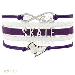 Wholesale Purple Leather Infinity Bracelet - (10 PCS Lot)Infinity Love Skate Skating Shoes Charm Bracelets For Women Gifts Red White Purple Bracelet Leather Custom Jewelry