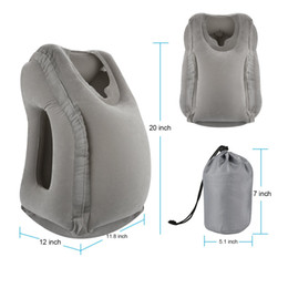 Wholesale Neck Rest Pillow - Grey Inflatable Travel Pillow Ergonomic and Portable Head Neck Rest Pillow,Patented Design for Airplanes, Cars, Buses, Trains Office Napping
