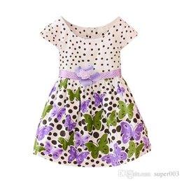 Robes de coton de flore de filles en Ligne-Les filles de bébé s'habillent en coton à pois flora 2018 nouvel été vêtements de bébé robe de princesse