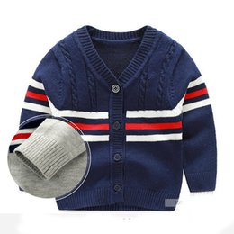 Wholesale Crochet Baby Sweaters - Cotton Baby Sweater V-neck Button Crochet Cardigan British Toddler Cardigan Baby Boy Knitted Sweaters Autumn Boys Clothing