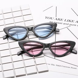 Wholesale Diamond Rhinestones - Fashion Small Cat Eye Sunglasses Women Luxury Brand Diamond Triangle Glasses Luxury Rhinestone Sunglass 8 design LJJK999