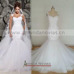 2018 Hot Sale Amanda Novias Elegant White Lace Cap Sleeve Sexy Mermaid Wedding Dress With Detachable Train