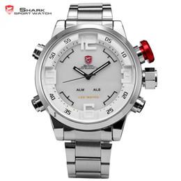Wholesale Shark Analog Watches - Wholesale-Gulper SHARK Sport Watch Stainless Full Steel Silver Japan Movement Dual Time Date Alarm Quartz Mens Digital Wristwatch   SH104