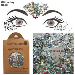 Wholesale face shot - GL20 one pack of Silver Shooting Star Body and Beard Glitter Sequins Glitter Face Glitter Festival Beauty Body Makeup