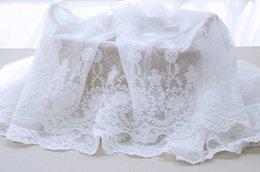 Wholesale materials net - White Net Bouble Size Symmetrical Positioning Embroidery Lace Fabric Fabrics of DIY webbing Cloth Materials