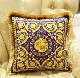 2019 vida navideña decoración de navidad European luxury classic geometric pattern tassel decorative pillowcase cushion cover high quality napping material 45*45cm home decoration