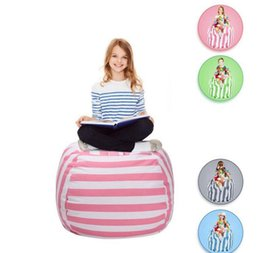 Wholesale Doll Chairs - 24 inch 5 color Storage Bean Bags Beanbag Chair Kids Bedroom Stuffed Animal Dolls Organizer Plush Toys Organizer Baby Play Mat KKA4028