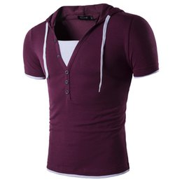 Wholesale Two Button T Shirt - Fashion Hooded T-shirt Men's Flase Two Patchwork With Button Shirts Man Casual T-shirt M-2XL Size