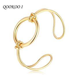 2019 bracelet de style indien QOOKOO I déclaration de mode bracelets indiens pour les femmes simple bracelet manchette ronde géométrie Bracelet en acier inspiré noeud style promotion bracelet de style indien