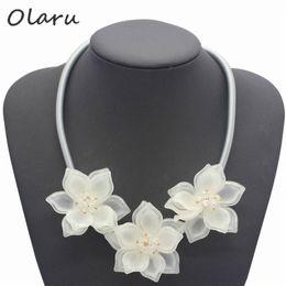 2019 ожерелье аксессуары для женщин Olaru Jewelry  Fashion Crystal Flower Choker Necklace For Woman Rhinestone Maxi Statement Necklaces Accessories Wholesale скидка ожерелье аксессуары для женщин