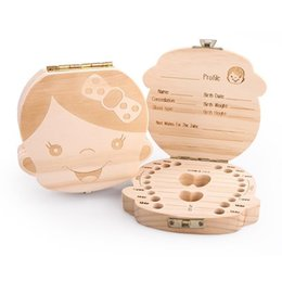 Wholesale baby travel kits - Tooth Box for Baby Save Milk Teeth Boys Girls Image Wood Storage Boxes Creative Gift for Kids Travel Kit