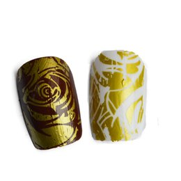 Wholesale Nail Art Express - ail Art Stickers Decals 100cmx4cm NEW Foils Polish Designs Yellow Rose Beauty Stickers Nail Art Decals for Salon Express Adhesive Manicu...