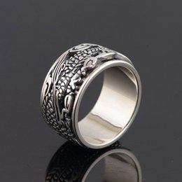 Wholesale Sterling Dragon Ring - FNJ 925 Silver Ring Fashion Dragon Pattern Original S925 Sterling Thai Silver Rings for Men Jewelry USA Size 7.5-11