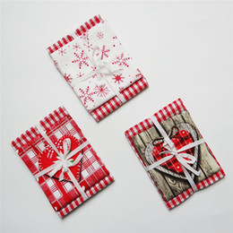 Wohnzimmerpakete online-Weihnachtsgeschenk Verpackung Serie Baumwolle Stoff Druck Serviette Matte Wohnkultur Tischdekoration Wohnzimmer Dekoration