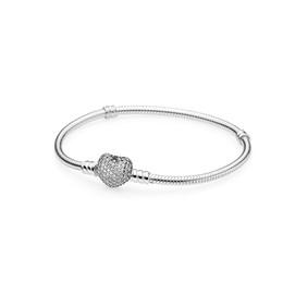 fascino del cuore del braccialetto di fascino Sconti Clear CZ Pave Heart Clasp Moments Bracciali Set scatola originale per Pandora 925 Sterling Silver Charm Bracciale da donna gioielli regalo di nozze