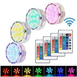 Vaso base leggera online-10 LED RGB LED sommergibile candela floreale tè Luce lampeggiante impermeabile festa nuziale Acquario Vaso Base decorazione lampada narghilè shisha