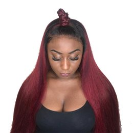 red hair color hairstyles Promo Codes - Ombre 1BT99J Full Lace Wig Brazilian Virgin Hair Silky Straight Lace Front Human Hair Wig Red With Dark Roots For Women