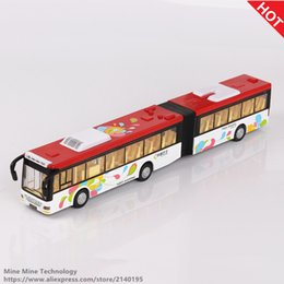 Wholesale Diecast Bus Toy - Double Horses 1:36 free shipping Lengthen the bus Alloy Diecast Car Model Pull Back Electronic classical Kids children Toys gift