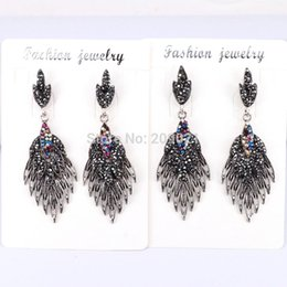 Wholesale Gorgeous Style - New style 5pair handmade Gorgeous feather metal Bohemia pave black rhinestone drop Earrings for women