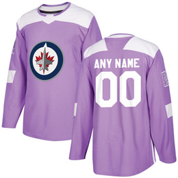 Pratica jockey jersey xxl online-Mens Womens Youth Purple Fights Cancer Practice Jersey 9 Andrew Copping 56 Marko Dano 15 Matt Hendricks 18 Bryan Little Winnipeg Jets Jersey