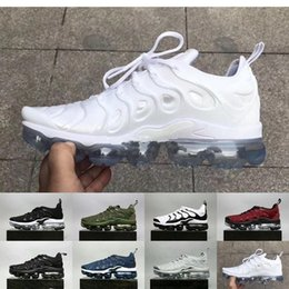 Wholesale silver open toe - 2018 New Vapormax TN Plus VM Olive Metallic White Silver Colorways Shoes For Male Shoe Pack Triple Black Men Shoes EU SZ40-45