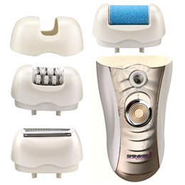 Wholesale Legs Shaver - DHL Sminiker 3 in 1 Lady Waterproof Rechargeable Hair Removal Kit with 2 Mode Power Switch, LED Hair Shaver for Bikini Line & Legs (Gold)