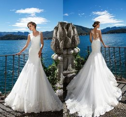 Wholesale marriage jewels - Milla Nova DORIANA Beach Mermaid Wedding Dresses White Lace Appliques Sheer Neck Illusion Bridal Gown Long Court Train Robe De Marriage