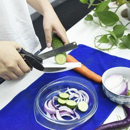 Wholesale Stainless Board - Original 2 In 1 Kitchen Knife &Cutting Board Scissors Stainless Steel Food Cutter For Meat Vegetables Shredders Kitchen Tools