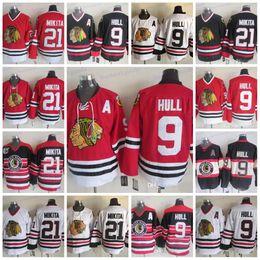 Stan mikita jersey онлайн-CCM Чикаго Блэкхокс 9 Бобби Халл 21 Стэн Микита хоккейные майки сшитые 75-й дом