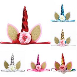 ragazza, bambini, fiore, corona Sconti Glitter Lace Unicorn Fascia per feste Forniture per ragazze Chiffon Fiori Hairband Bambini Cosplay Crown Bambini Festa di compleanno Cute Cat Orecchie WX9-407