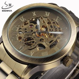 2019 nuovi orologi shanghai Nuovi orologi Steampunk Uomo Vintage Bronze Automatic Skeleton meccanico da polso da uomo Orologio meccanico Relogio Masculino D18100706 nuovi orologi shanghai economici