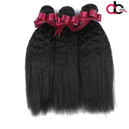 Wholesale Coarse Yaki - Mink Brazilian Virgin Hair Kinky Straight Hair 3 Bundles 9A Coarse Yaki Brazilian Weave Bundles Italian Yaki Straight