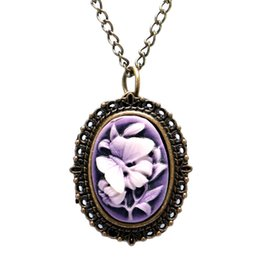 Wholesale mini pocket watch necklaces - Fashion Bronze Purple Butterfly Flower Quartz Full Hunter Quartz Pocket Watch Necklace Pendant Mini Clock Girl Women Reloj De Bolsillo Gifts