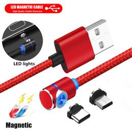 2019 câble de données de recharge magnétique micro usb Câble de foudre magnétique 90 degrés LED tissant des câbles de charge rapide de type câble USB USB Câble de données Android Samsung promotion câble de données de recharge magnétique micro usb